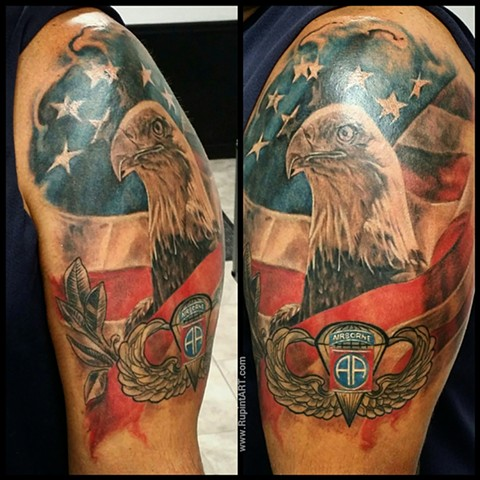 eagle tattoo. american eagle. american flag tattoo. airborne military tattoo