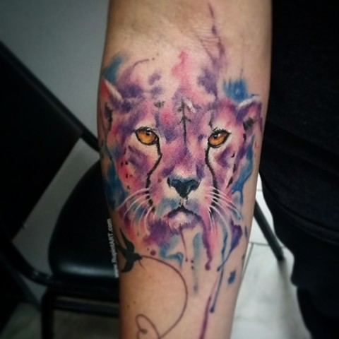 cheetah watercolor tattoo. freehand tattoo
