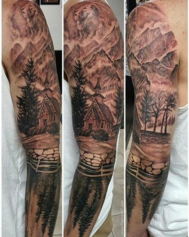 church tattoo. nature tattoo. forest tattoo mountain tattoo realistic tattoo