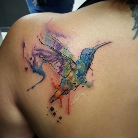 hummingbird tattoo. watercolor tattoo. freehand