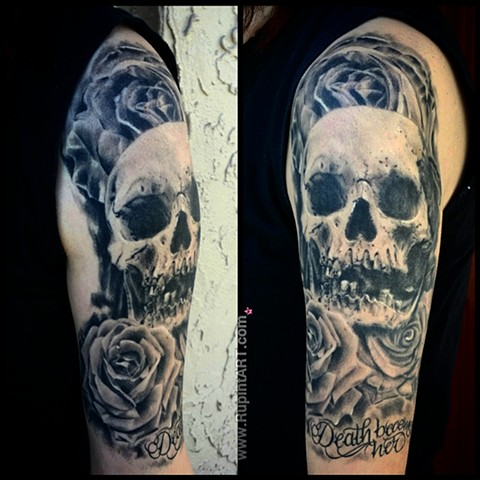 skull tattoo roses tattoo script tattoo black and gray realistic tattoo by P