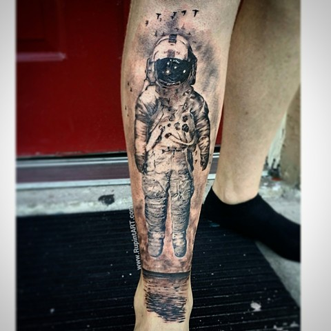 brand new. band tattoo. astronaut tattoo. realistic tattoo