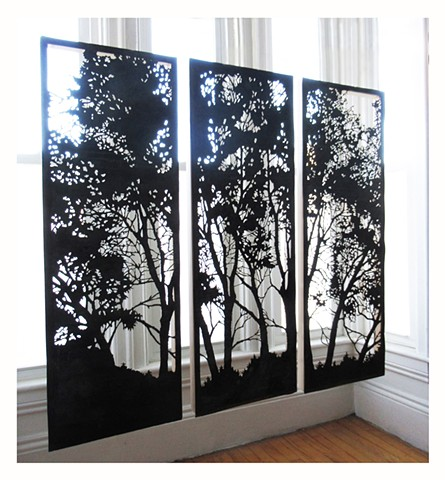silhouette of 3 birch trees acid cut into copper from the maine state house
