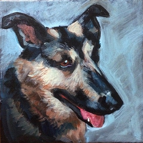 oil painting on canvas of a german shepherd