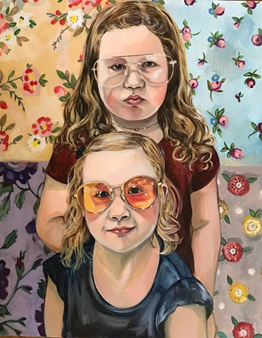 oil portrait of two sisters with a floral back ground