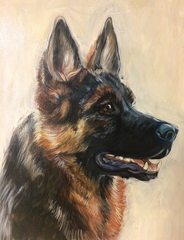 oil portrait of a german shepherd, commission portrait