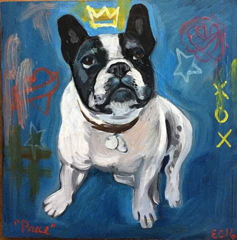 oil portrait of a french bull dog