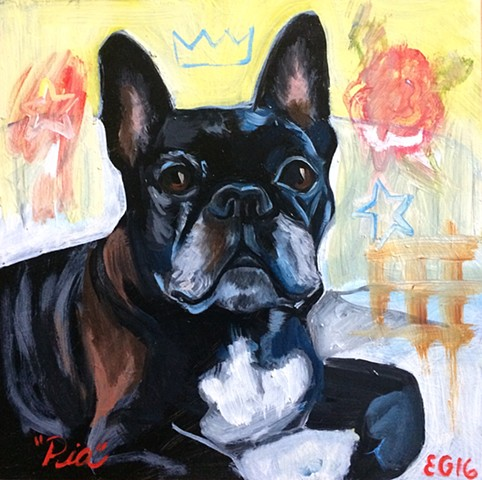 oil portrait of french bull dog