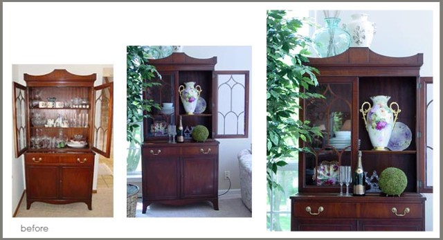 an OLD china cabinet styled with fresh NEW character and class