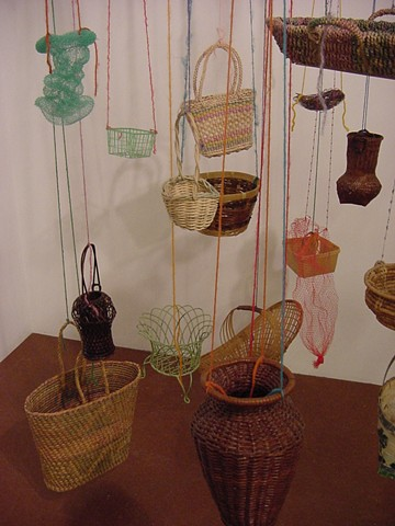 Ever-changing Interactive Installation; hanging baskets, detail