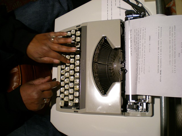 Typewriter; Denise's hands