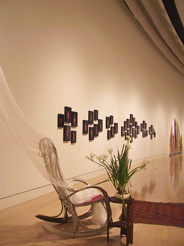Installation including 40 Waterfalls for Them, Interior Piece, and Scarves/Candles in distance (Springfield Museum of Art)