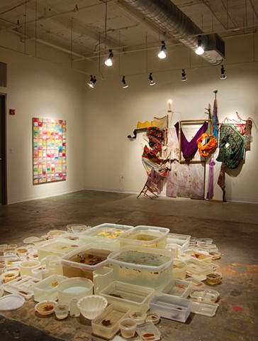 Installation view:  text message: SAVED; Modular Lake, Autumn; Pre-text