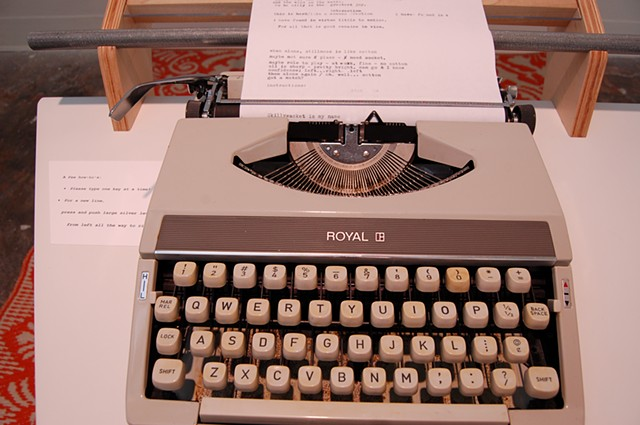 Typewriter; detail, typewriter and text