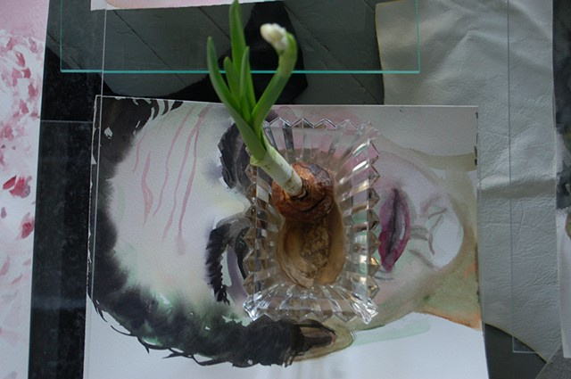 Landscape/Still-life w/ Faces/Vases; extreme detail: face w/ narcissus about to bloom