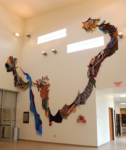 Exodus Redux; full view of textile installation
