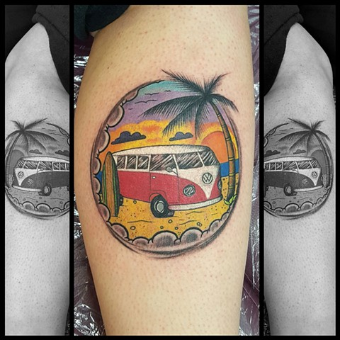 VW Bus Beach Surfing Tattoo