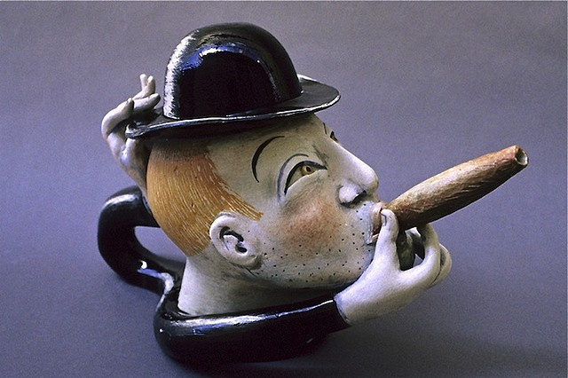 """Man With Derby"" Teapot"