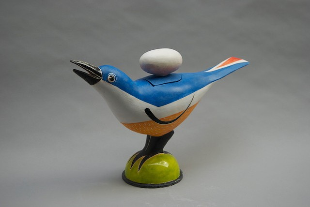 """Bird Covered Jar -14-A"""