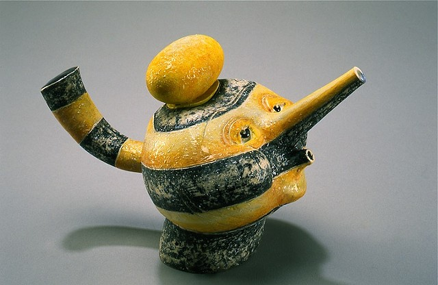 """Black and Yellow Bandit"" Teapot"