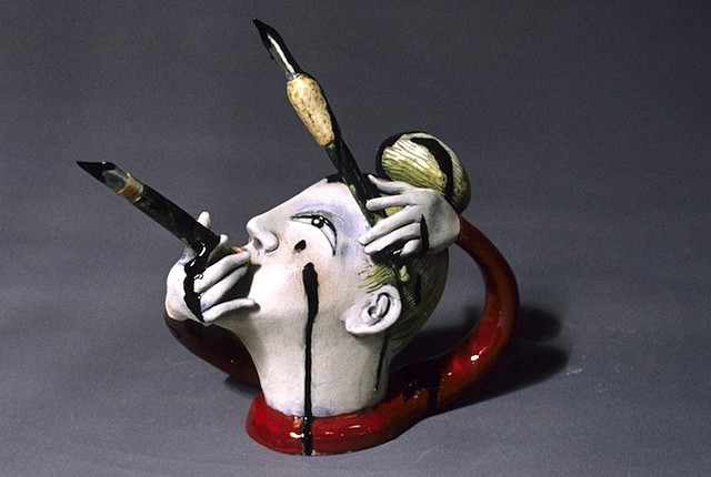 """Red Woman With Leaking Pens"" Teapot"