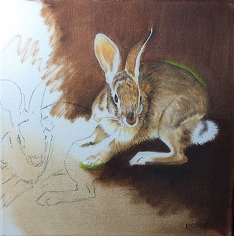 Charcoal and oil painting of rabbit by Kandy Stern.
