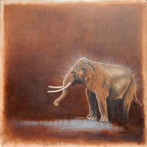 Oil painting of asian elephant by Kandy Stern.