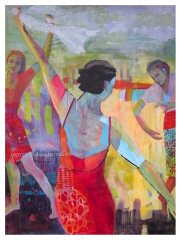 dancers painting, red dress painting,