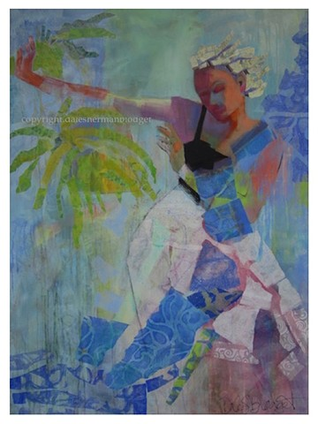 dancer, dancing, mermaid, acrylic painting, collage, handprinted papers, figure painting