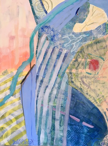Acrylic painting collage, female figure, river, climate change