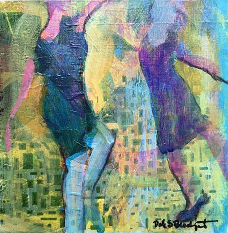 Female figures dance acrylic painting