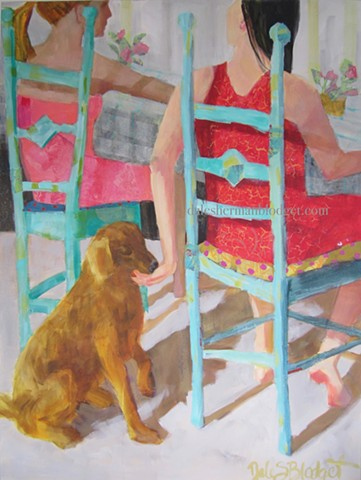 Acrylic painting collage, female figure, Golden Retriever,