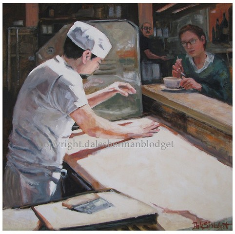 oil painting, bakery, pastry chef, figures