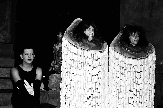 "Barbara Romain & Shelley Sachs  ""Ginger Sverlo"", a performance piece exploring ""the dark side of the female experience""- tampon gowns and exposure of their bodies in an unflattering way,""turning insult into a source of pride by being proud of our bodies"""