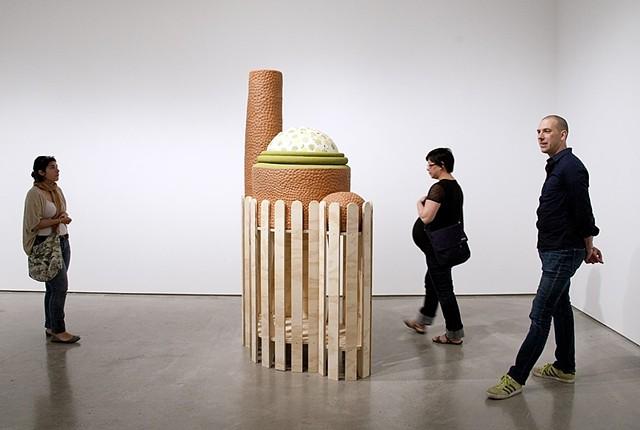 Bunny Hutch Ceramic, wood, foam, found materials 8' in height 2012