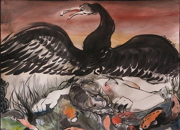 expressive ink brush painting, Leda supine, koi and black swan, red sky
