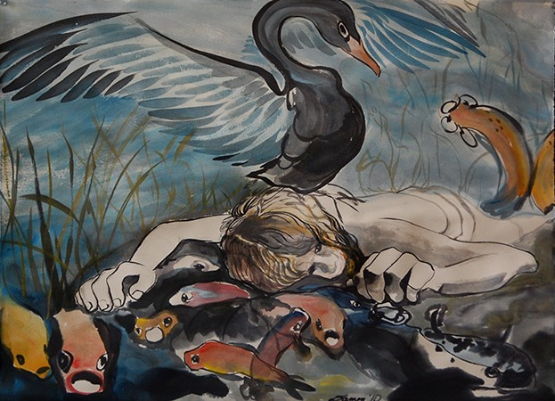 expressive ink brush painting, Leda supine, koi and black swan