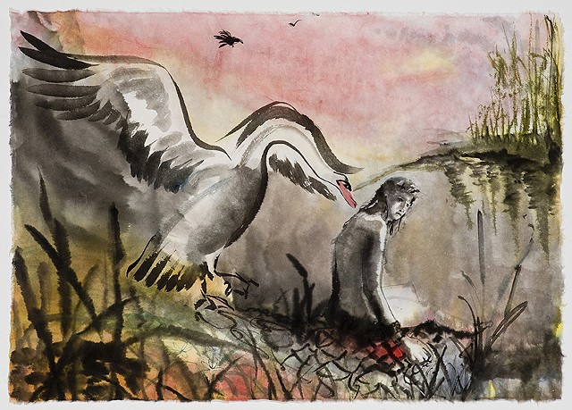 sitting Leda, watercolor and swan with out stretched wings
