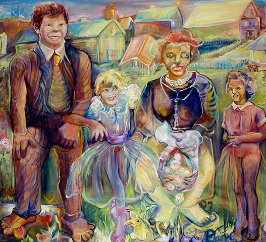 An unusual portrait of family dressed for Easter