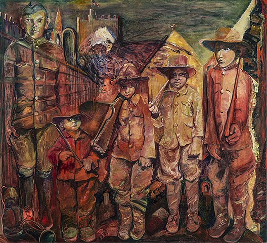 boy soldiers, WWI, responsive painting to poem