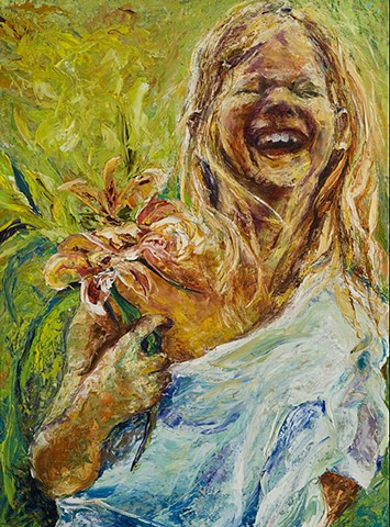 young girl laughing, thick free brush strokes warm colors