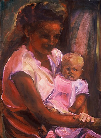 pensive mother holding infant, light behind hair