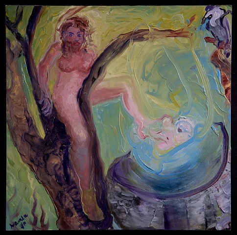vulture ,fake  infant in blue cradle and nude mother in the tree