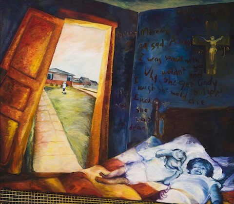 two children on a bed, wall writing and open door to distant scene