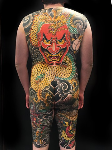 Dragon and Shikami noh mask bodysuit