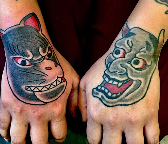 Kitsune and Hannya  Hand tattoos