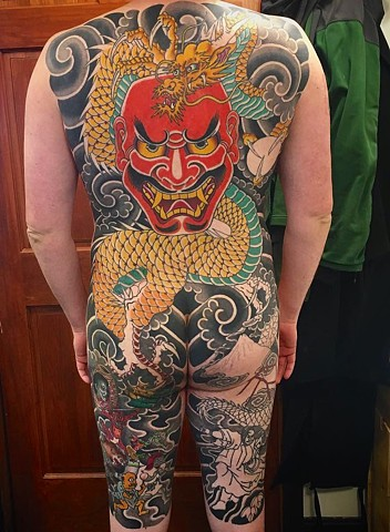 Dragon and Shikami noh mask Bodysuit , almost finished