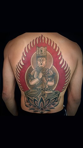 Dainichi Nyorai  (Outline done with machine all color and shading done by tebori)