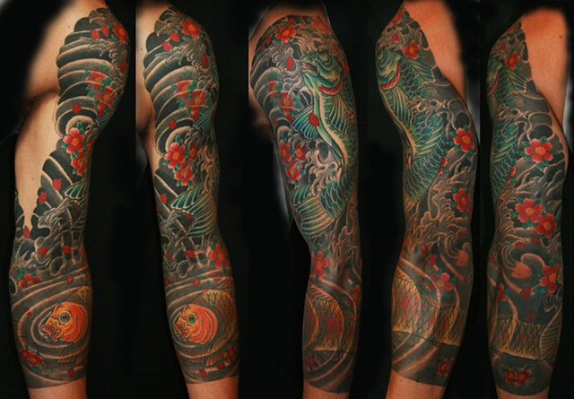 koi and cherry blossoms  sleeve