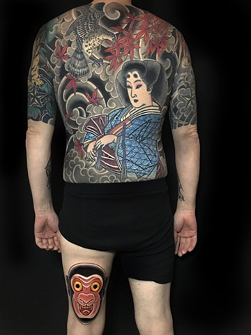 Geisha and hawk backpiece  extending with Kyogen masks